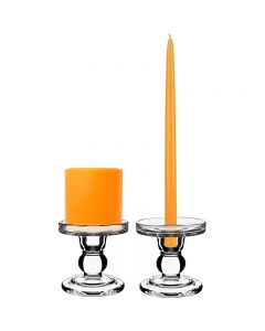 Bubble Glass Pillar Taper Candle Holder H-3.75