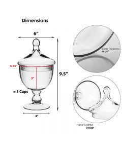 """Glass Apothecary Jar H-9.5"""", Pack of 12 pcs"""