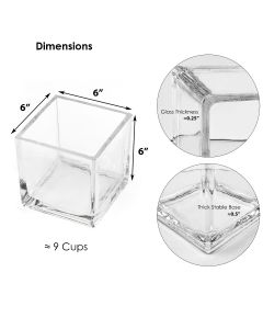 """Glass Cube Vase H-6"""" Open-6"""" Wedding Centerpiece (Multiple Packing)"""
