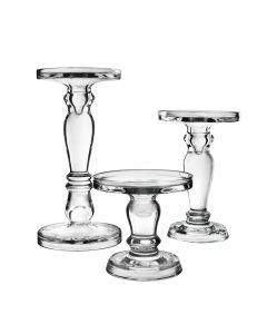 Bubble Glass Pillar Taper Candle Holder 5 inches set of 3
