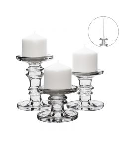 Classic Glass Candlesticks, Pillar & Taper Candle Holders for Christmas.Set of 3