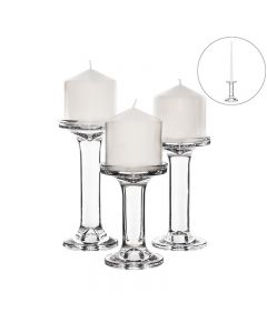 Modern Glass Candlesticks, Taper & Pillar Candle Holders. Set of 3