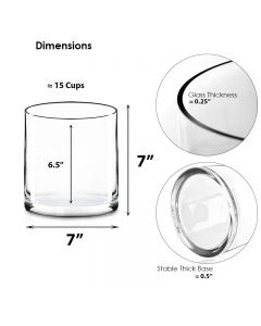7 inches glass cylinder vases