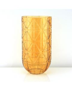 geometric glass vases amber