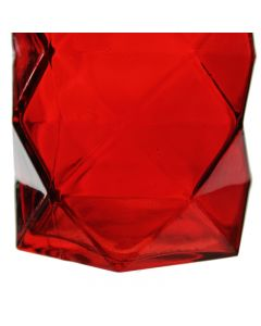 "red 7"" geometric prism vases"