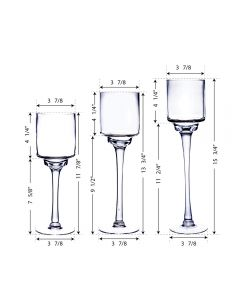 glass pedestal long stem candle holder