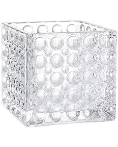 """Glass Cube Vase H-6"""" Open 6"""" x 6""""  with Dimple Effect (Multiple Packing)"""