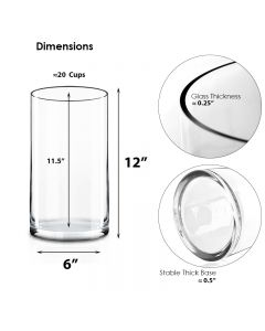 12 inches glass cylinder vase