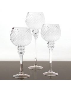 hobnail-clear-glass-candle-holder-set