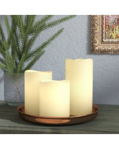 Real Wax Pillar Candles Set LED Mood Lighting with Self Timer
