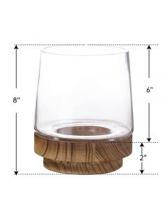 glass terrarium vase with removable wood base