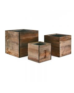 4 in 6 in 8 in cube wooden planter box set with zinc liner combination