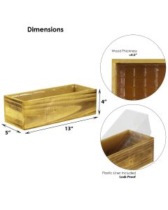 """Wood Rectangle Unfinished Planter Box w/ Plastic Liner H-4"""" Open-17"""" x 5"""""""