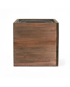 4 inch wooden planter box with zinc liner