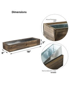 """Wood Rectangle Candle Holder Set With Glass Chimney Candle Shade Tubes (L:18"""" W:6"""" H:8.25"""")"""