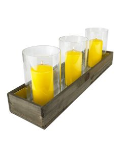 """Wood Rectangle Candle Holder Set With Glass Chimney Candle Shade Tubes (L:24"""" W:6"""" H:8.25"""")"""