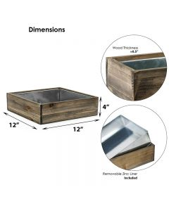square wood planter box with zinc liner