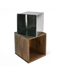 12 inch wooden planter box with zinc liner wholesale pack