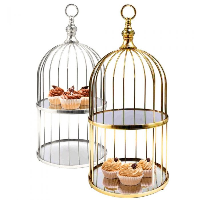 gold silver metal bird cage
