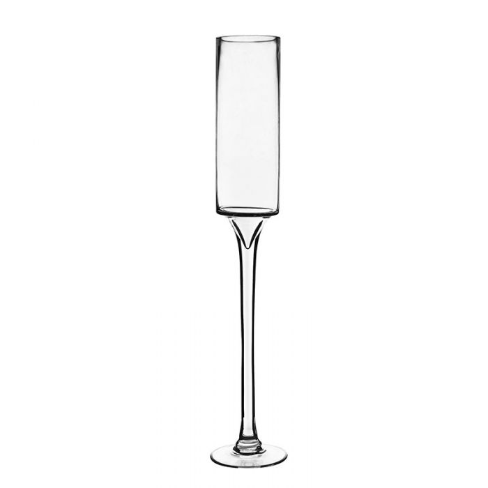 Long Stem Glass Candle Holder H-24 Open-3.5