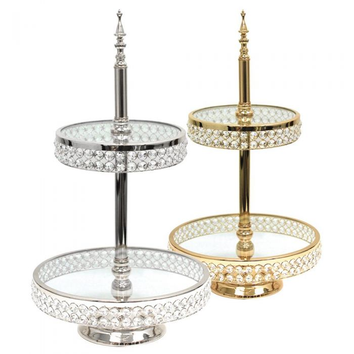 silver gold crystal cake stand