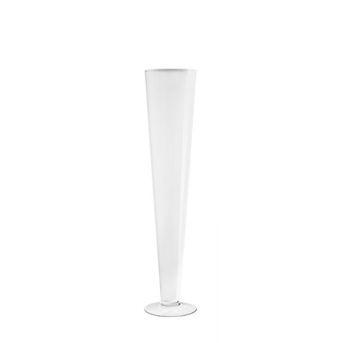 White Glass Trumpet Vase 24 inch