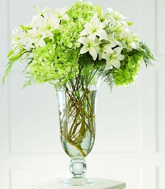 white-lily-green-hydrangea-in-flared-trumpet-vase